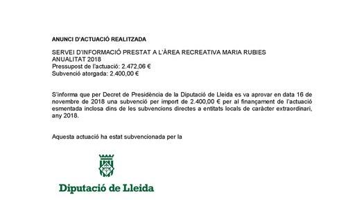 Actuació realitzada amb finançament de la Diputació de Lleida