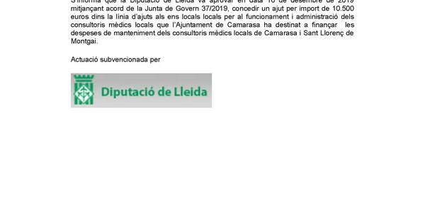 Ajut consultoris mèdics 2019 Diputació de Lleida