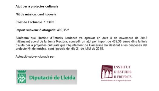 Ajut per a projectes culturals