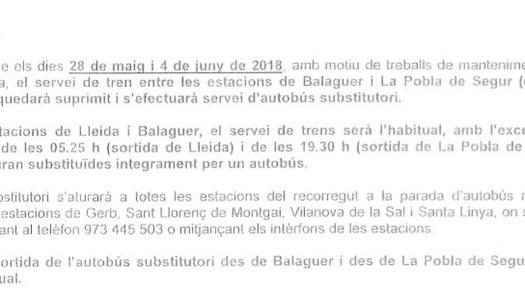 Avís línia de tren Lleida la Pobla de Segur