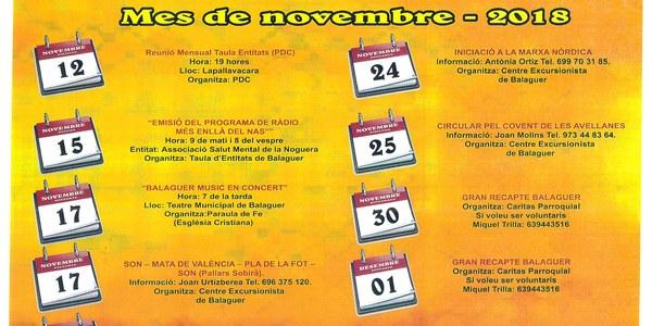 Calendari activitats Taula d'Entitats de Balaguer