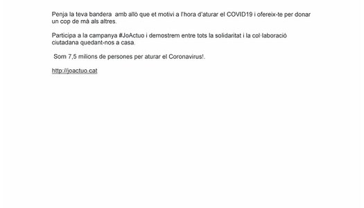 CAMPANYA # JO ACTUO PER FER FRONT AL CORONAVIRUS