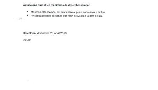 Comunicat de desembassament de Sant Llorenç de Montgai