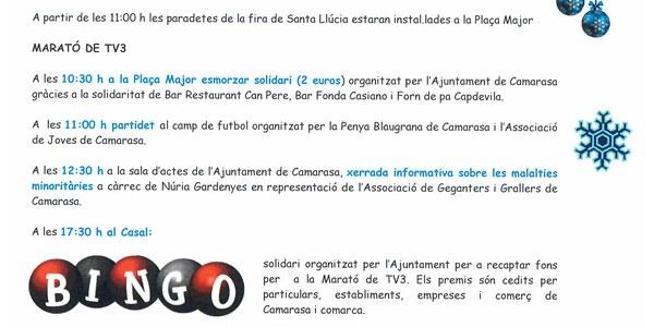 Diumenge, dia 15 de desembre. FIRA DE SANTA LLÚCIA I MARATÓ DE TV3