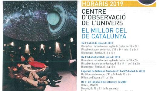 Horaris 2019 Centre d'observació de l'univers