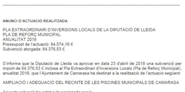 Pla extraordinari d'inversions locals de la Diputació de Lleida. Pla de reforç municipal anualitat 2018