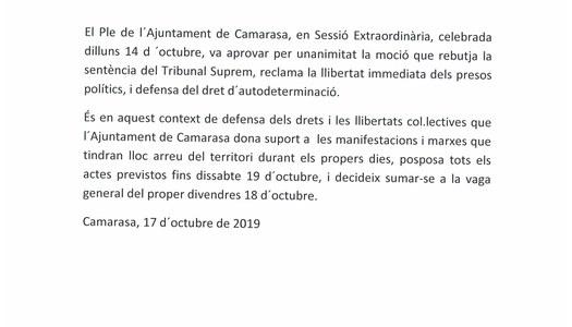 Suport a la vaga general del 18 d'octubre